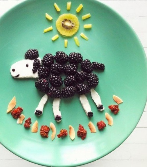 Sheep Inspired Plate of Fruit