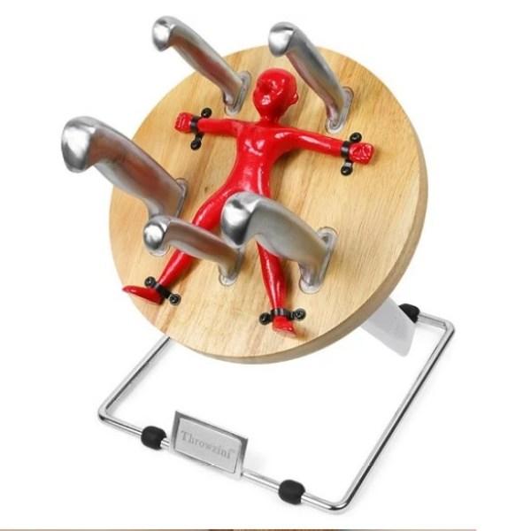 Knife block as a circus knife throwing wheel