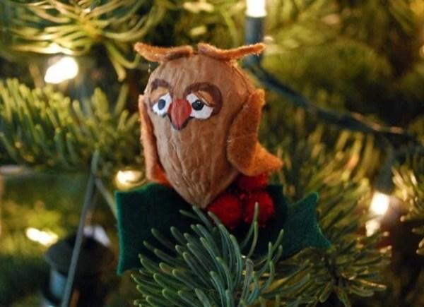 Owl ornament made with walnut shells