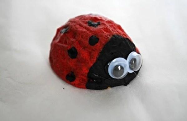 Ladybird made with walnut shells