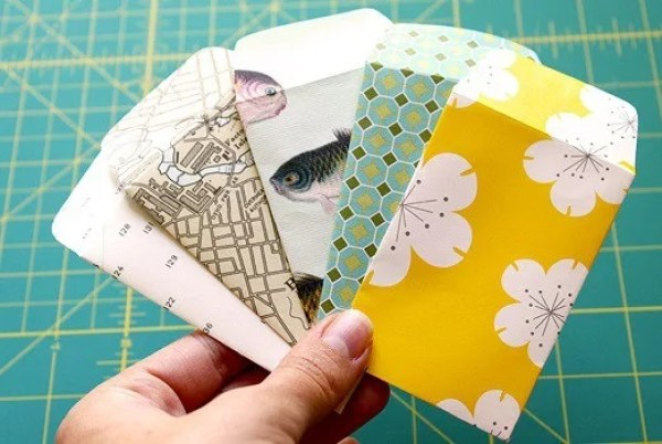 Envelopes Made with used wrapping paper