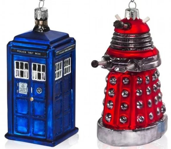 TARDIS and Dalek Inspired Christmas Tree Baubles