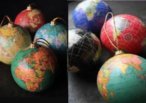 Globe Inspired Christmas Tree Baubles