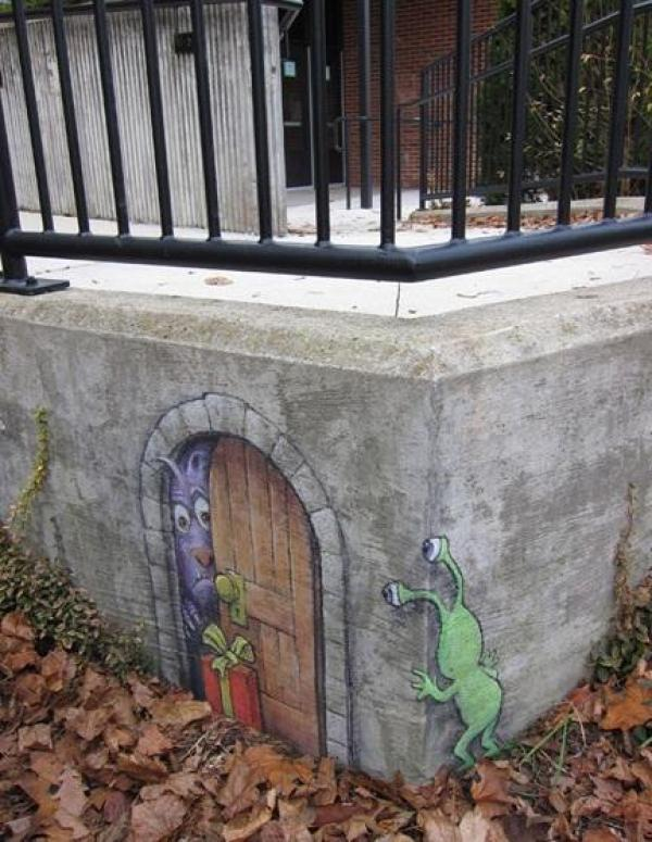 David Zinn - Sluggo and Friends Street Art