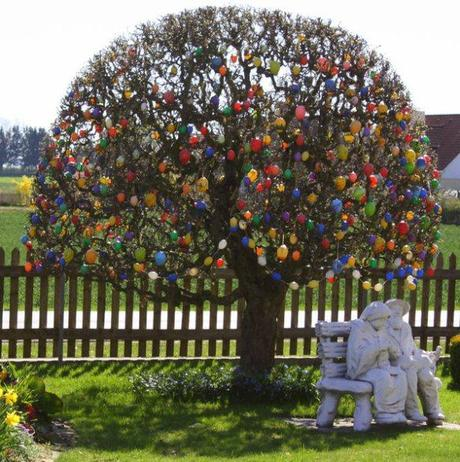 Tree covered in coloured Eggs