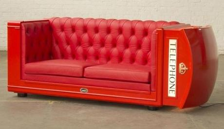 Red Telephone Box / Phone Booth turned into Sofa