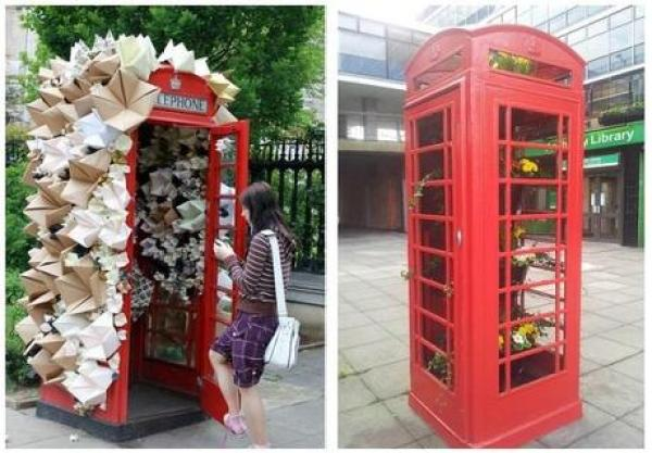 Red Telephone Box / Phone Booth turned into an art gallery