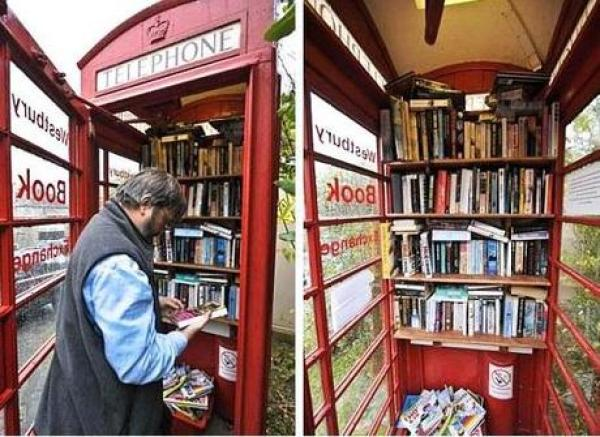 Red Telephone Box / Phone Booth turned into Library
