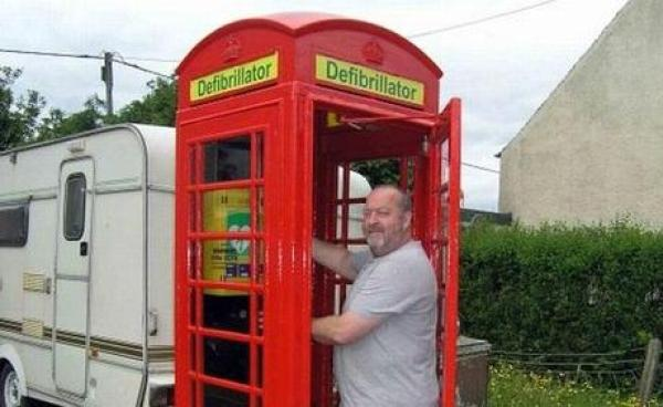 Red Telephone Box / Phone Booth turned into Defibrillator Station