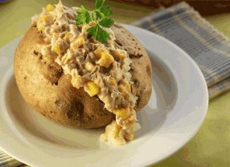 Tuna and sweetcorn topped baked potato
