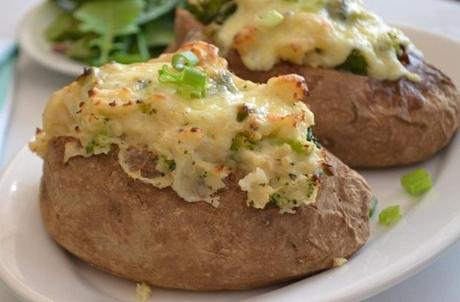 Broccoli Cheddar Stuffed Baked Potatoes