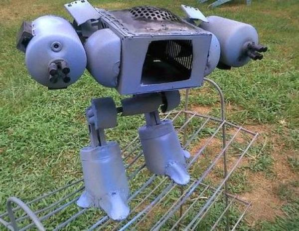 ED-209 Robocop sculptures from recycled steel