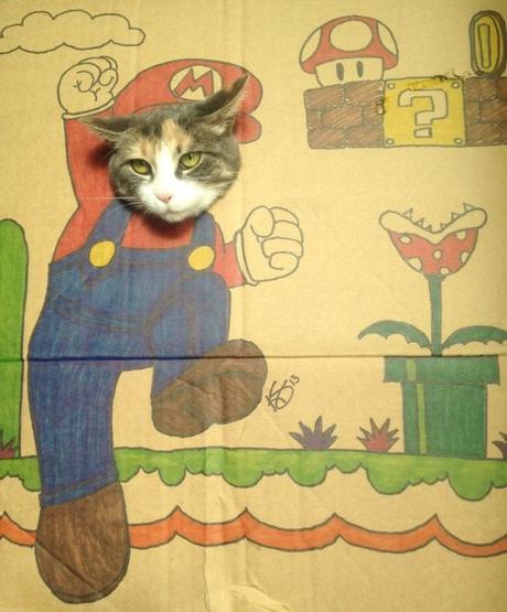 Cat art in the style of Super Mario