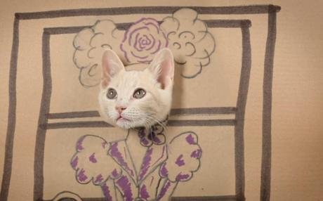 Cat art in the style of the Hunger Games