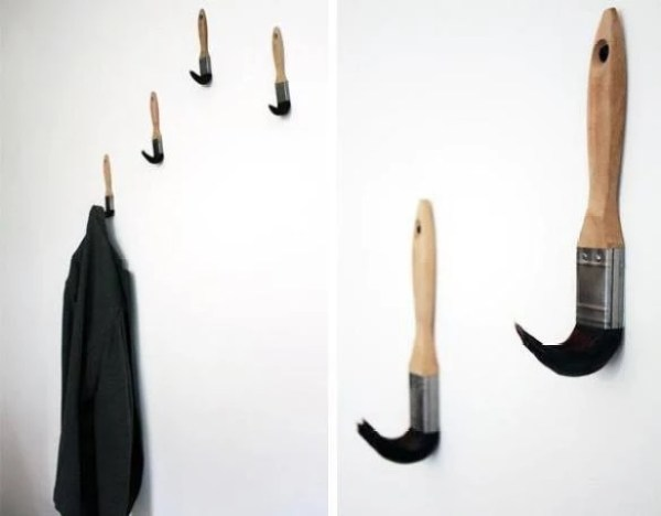 Recycled Paint Brushes Turned Into Hangers