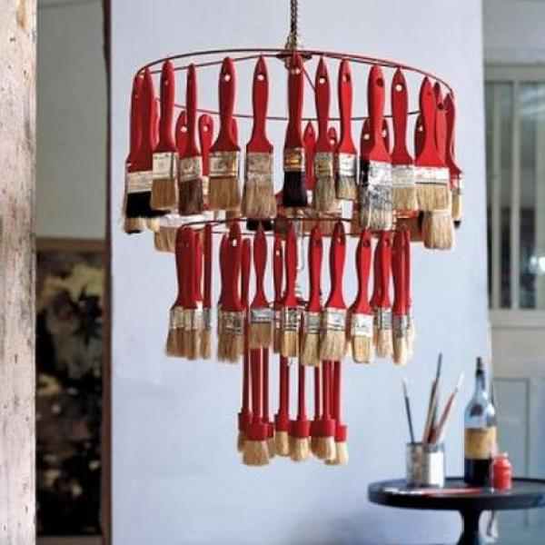 Recycled Paint Brushes Turned Into Chandelier