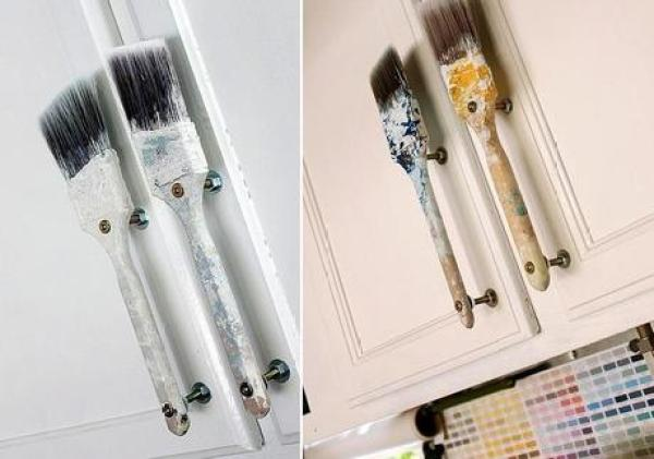 Recycled Paint Brushes Turned into door Handles