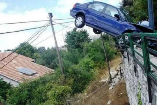 Car crash onto railings
