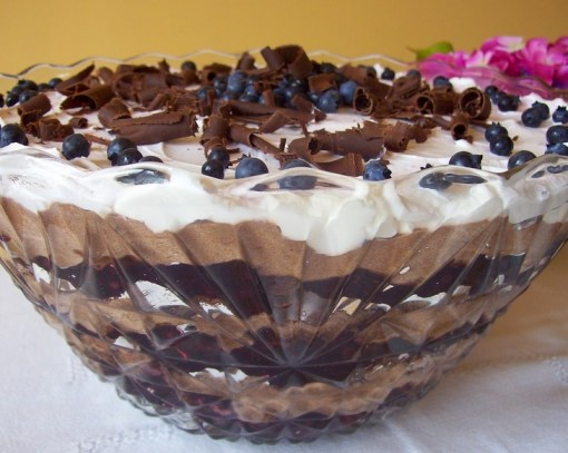Blueberry Chocolate Punch Bowl Cake