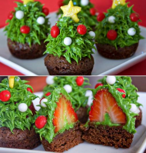 Strawberry Christmas Tree Brownie Bites