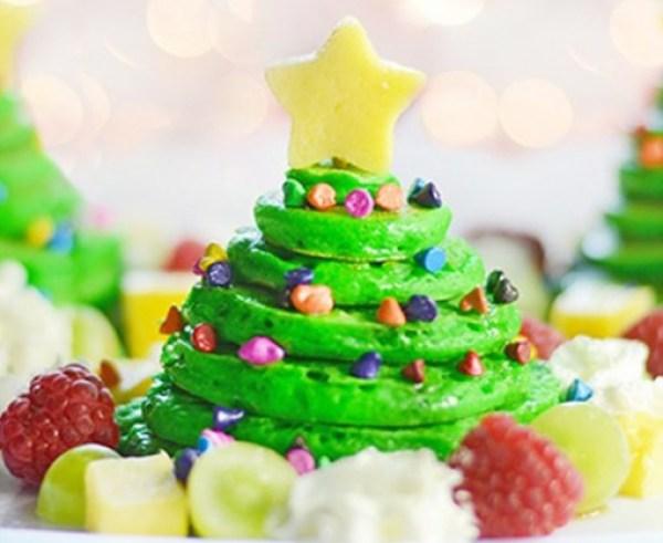 Almond Flavored Christmas Tree Pancake Stacks