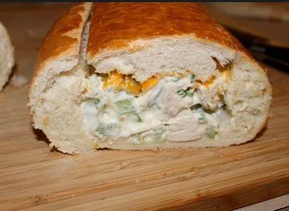 Hot Chicken Salad Stuffed Loaf