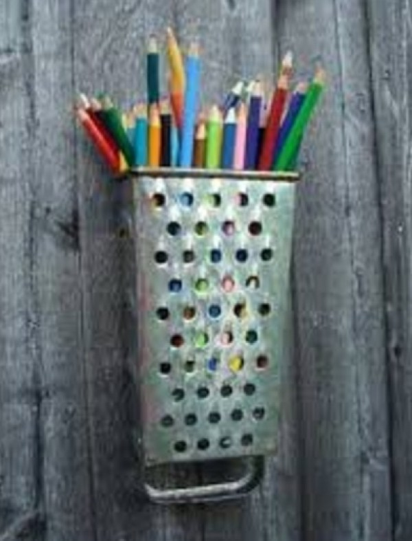 Cheese Grater Transformed Into A Pencil Holder
