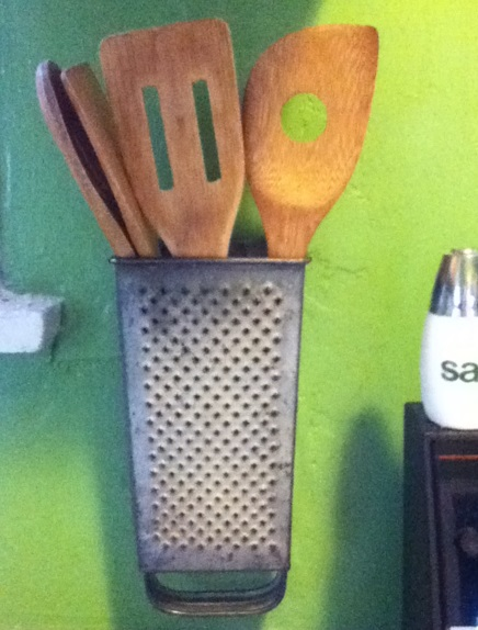 Cheese Grater Transformed Into a Kitchen Utensil Holder