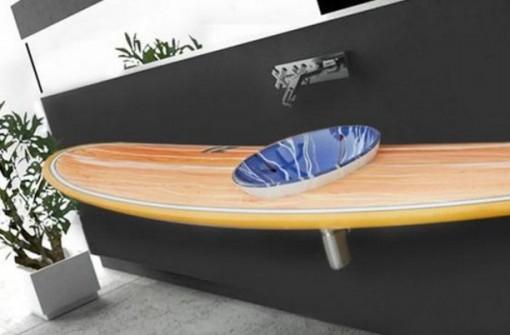 Surfboard Used To a Bathroom Sink