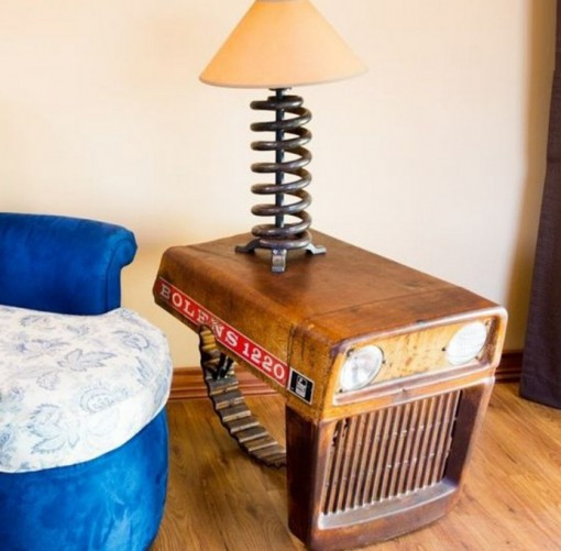 Tractor Transformed Into a Bedside Table and Lamp