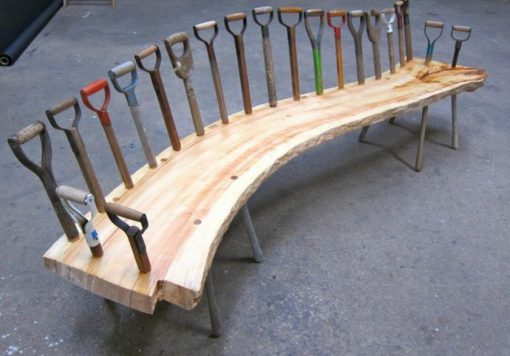 Garden Tools Transformed Into a Bench