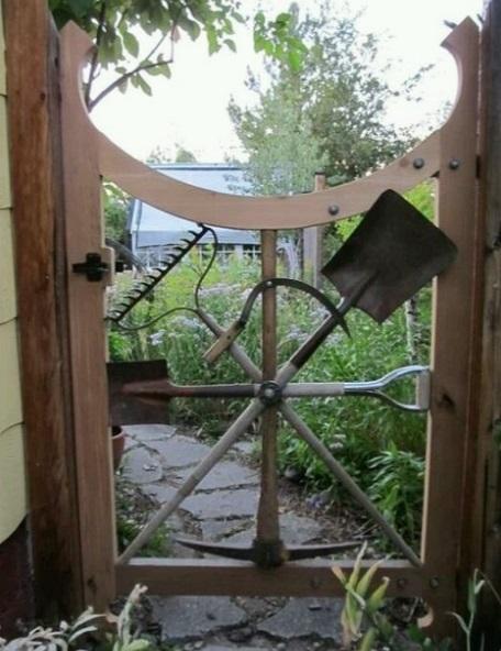 Garden Tools Transformed Into a Garden Gate
