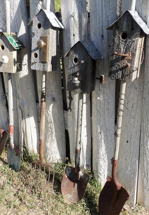 Garden Tools Transformed Into Bird Houses