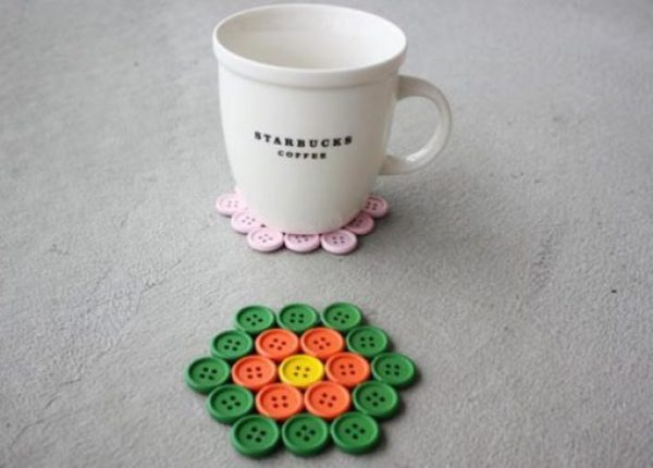 Clothes Buttons Recycled and Transformed Into Drink Coasters