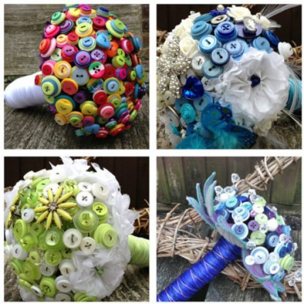 Clothes Buttons Recycled and Transformed Into Bouquets
