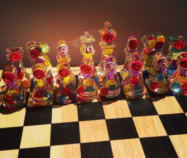 Clothes Buttons Recycled and Transformed Into Chess Pieces