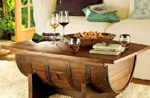 Wooden Barrel Transformed Into a Coffee Table