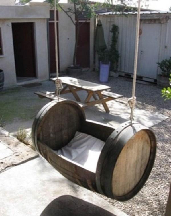Wooden Barrel Transformed Into a Swing