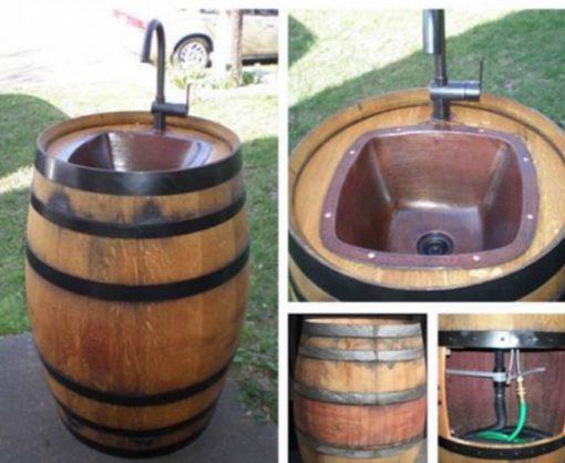 Wooden Barrel Transformed Into a Wash Basin