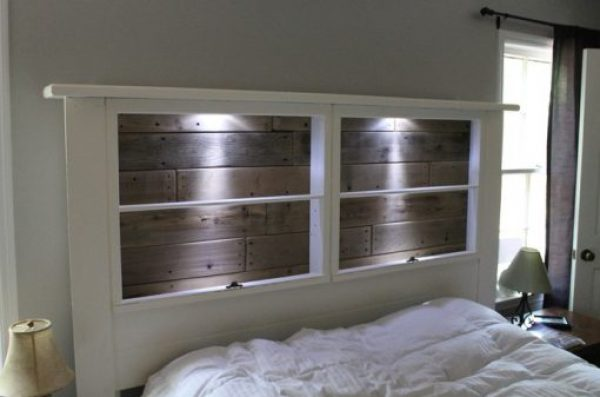 Old Windows Transformed Into a Headboard