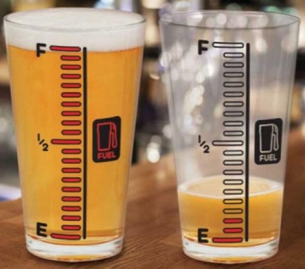 Man Fuel Gauge Beer and Pint Glass