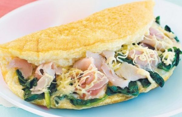 Omelette With Ham, Spinach and Swiss Cheese