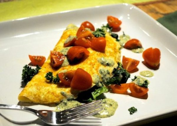 Egg Omelette with Spinach and Savory Dijon Sauce