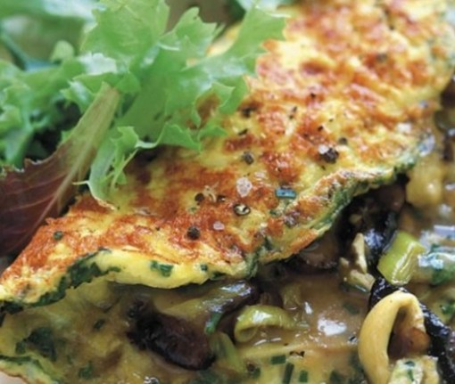 Mushroom, Leek and Cheese Omelette