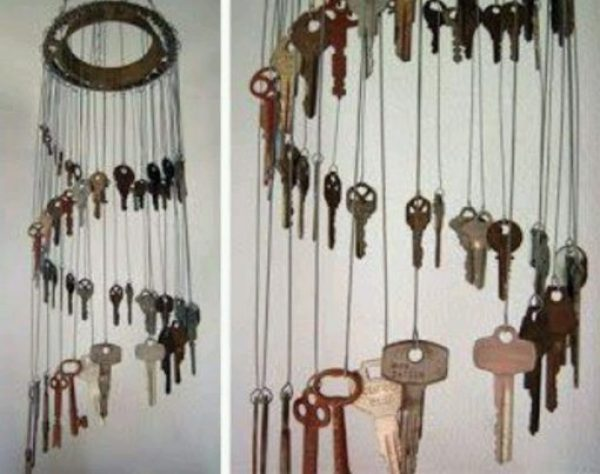 Old Keys Transformed Into a Wind Chime