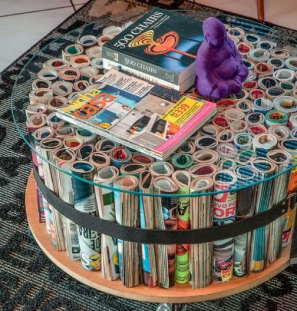 Old Magazines Used To Make a Coffee Table