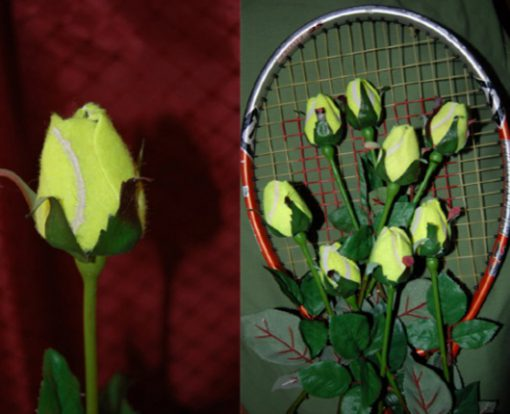 Tennis Balls Transformed Into Display Roses