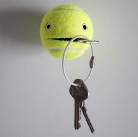 Tennis Balls Transformed Into Key Holders