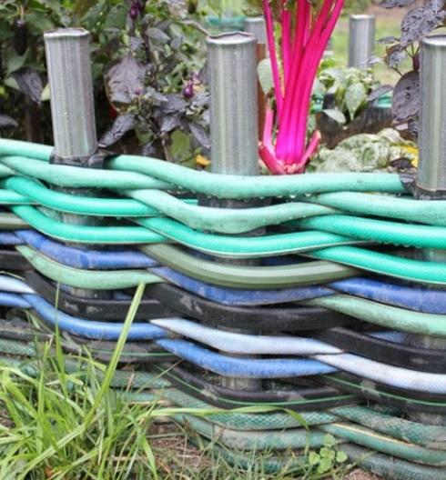 Water Hose Transformed Into Garden Edging