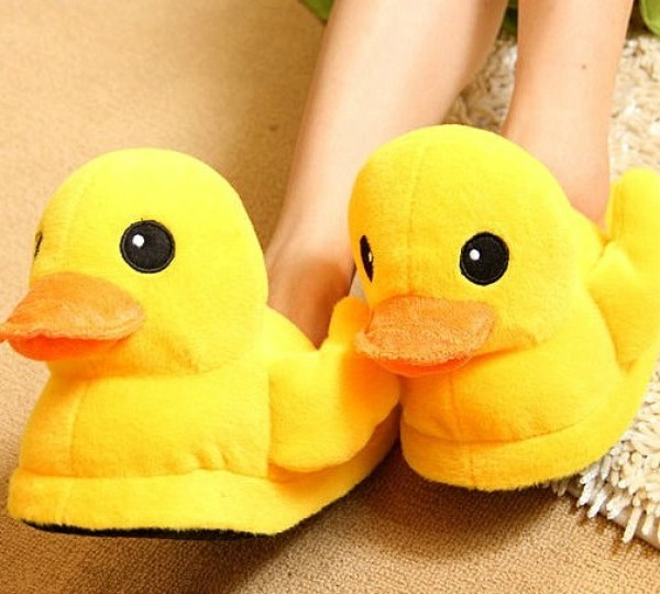 Novelty Yellow Rubber Duck Slippers